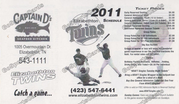 2011 Elizabethton Twins Pocket Schedule (Flat)