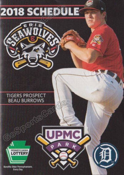 2018 Erie SeaWolves Pocket Schedule (Beau Burrows)
