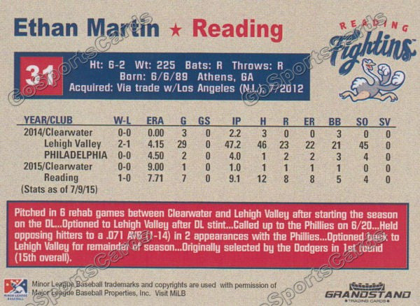 2015 Reading Fightin Phils Update Ethan Martin  Back of Card