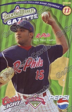 Fabio Castro 2008 Reading Phillies Gazette Program (SGA)