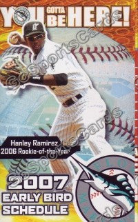 2007 Florida Marlins Early Bird Pocket Schedule (Hanley Ramirez)