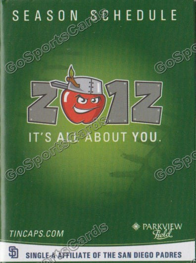2012 Fort Wayne Tincaps Pocket Schedule