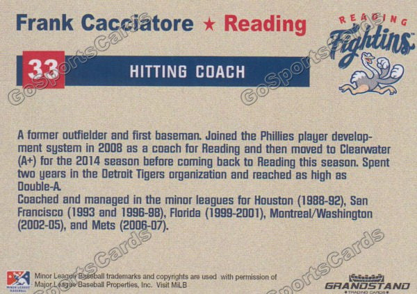 2015 Reading Fightin Phils Update Frank Cacciatore  Back of Card