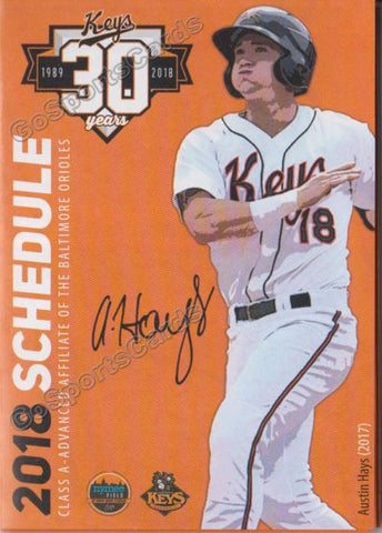 2018 Frederick Keys Pocket Schedule (Austin Hays)