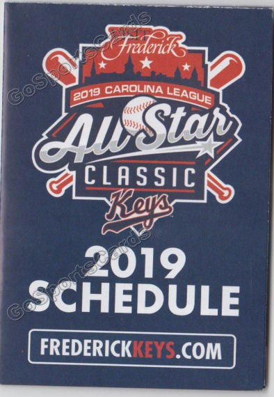 2019 Frederick Keys Pocket Schedule (2019 Carolina League All Star)