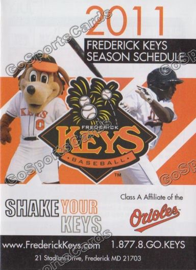 2011 Frederick Keys Pocket Schedule