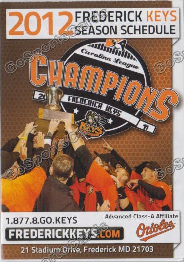2012 Frederick Keys Pocket Schedule (2011 Champions)