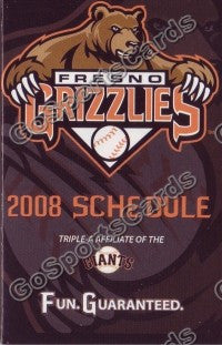 2008 Fresno Grizzlies Pocket Schedule