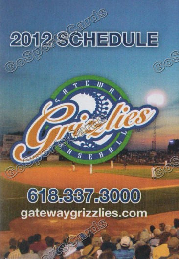 2012 Gateway Grizzlies Pocket Schedule