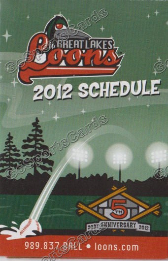 2012 Great Lakes Loons Pocket Schedule 5th Anniversary