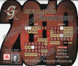 2010 Greeneville Astros Magnet Pocket Schedule
