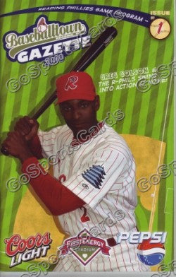 Greg Golson 2008 Reading Phillies Gazette Program (SGA)
