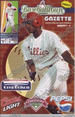 Greg Golson 2007 Reading Phillies Gazette Program (SGA)