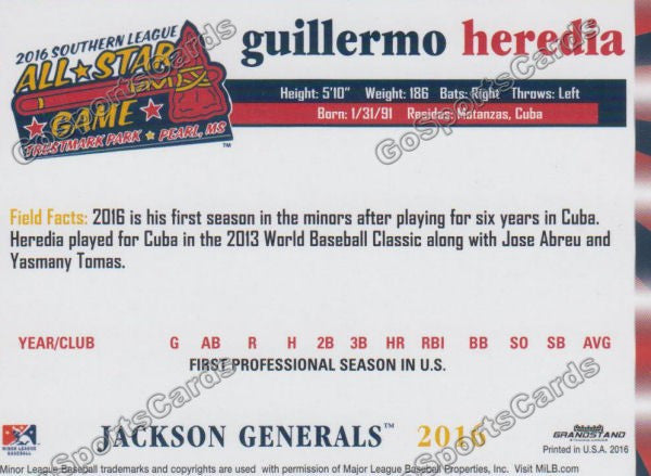 2016 Southern League All Star N Guillermo Heredia Back of Card