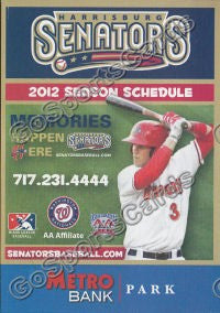 2012 Harrisburg Senators Pocket Schedule (Bryce Harper)