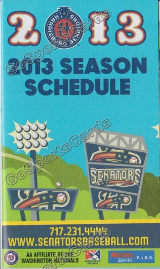 2013 Harrisburg Senators Pocket Schedule