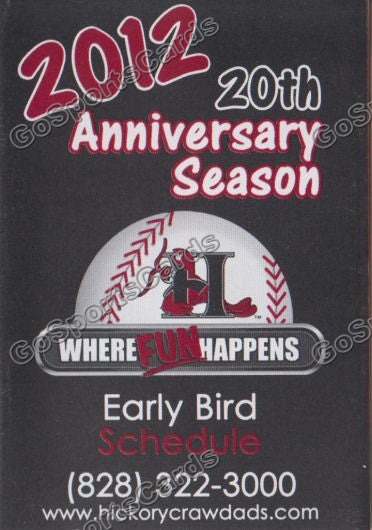2012 Hickory Crawdads Pocket Schedule 20th Anniversary Early Bird