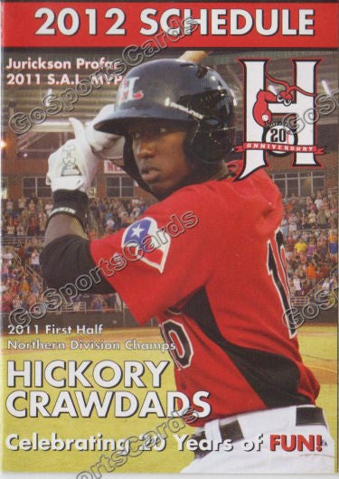 2012 Hickory Crawdads Pocket Schedule 20th Anniversary (Jurickson Profar 2011 SAL MVP)