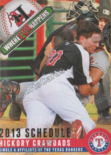 2013 Hickory Crawdads Pocket Schedule