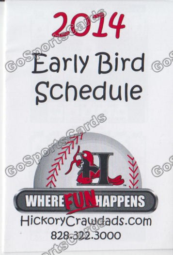 2014 Hickory Crawdads Pocket Schedule Early Bird