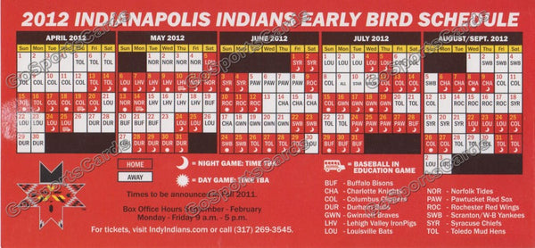 2012 Indianapolis Indians Early Bird Pocket Schedule Flyer (Flat)
