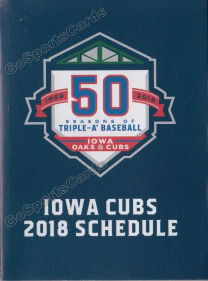 2018 Iowa Cubs Pocket Schedule (50th Anniversary)