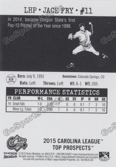 2015 Carolina League Top Prospect Jace Fry  Back of Card