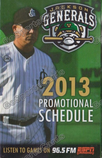 2013 Jackson Generals Pocket Schedule