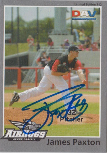 James Paxton 2010 Grand Prairie AirHogs DAV SGA Autograph
