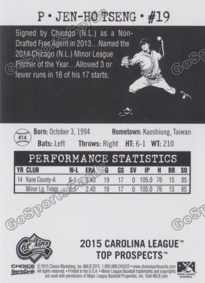 2015 Carolina League Top Prospect Jen Ho Tseng  Back of Card