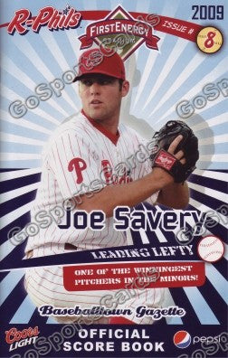 Joe Savery 2009 Reading Phillies Gazette Program (SGA)