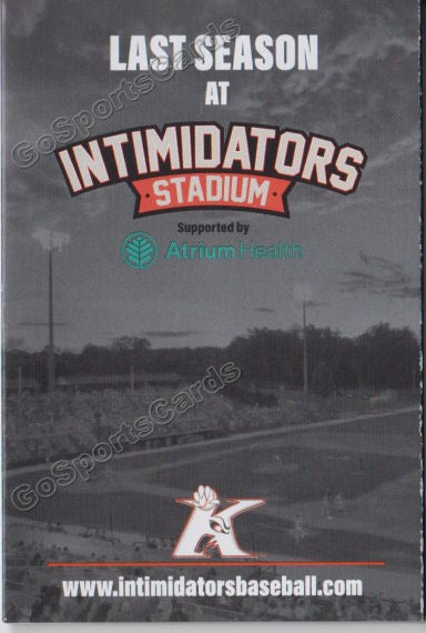 2019 Kannapolis Intimidators Pocket Schedule (Last Season at Stadium)