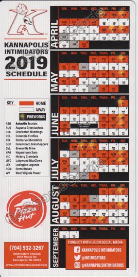2019 Kannapolis Intimidators Magnet Pocket Schedule