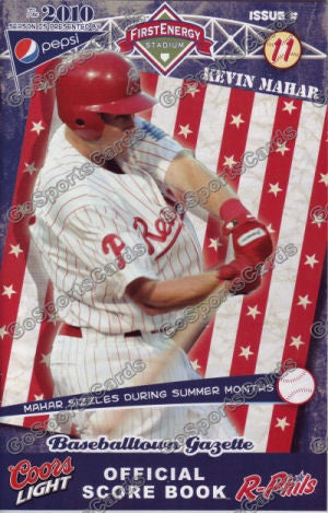 Kevin Mahar 2010 Reading Phillies Gazette Program (SGA)