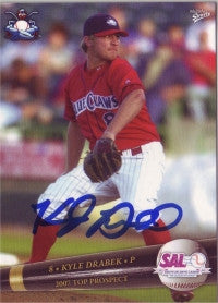 Kyle Drabek 2007 MultiAd Sports SAL South Atlantic League Top Prospects #12 (Autograph)