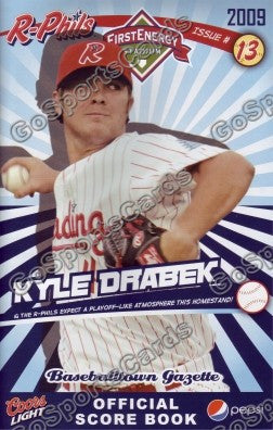 Kyle Drabek 2009 Reading Phillies Gazette Program (SGA)