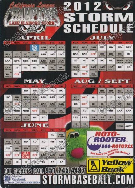 2012 Lake Elsinore Storm Magnet Schedule