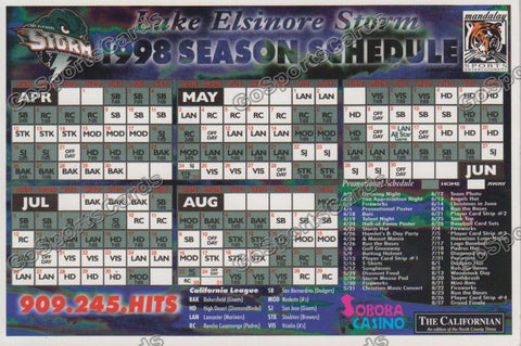 1998 Lake Elsinore Storm Magnet Schedule
