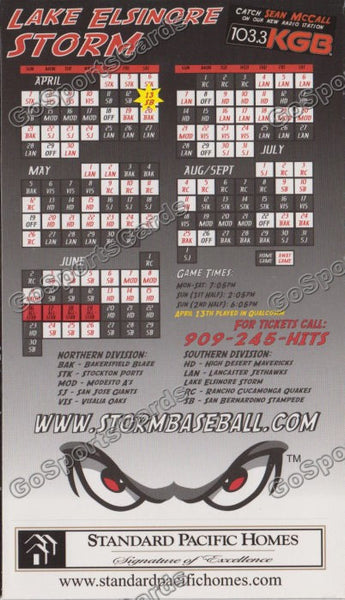 2002 Lake Elsinore Storm Magnet Schedule