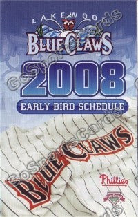 2008 Lakewood Blue Claws Early Bird Pocket Schedule