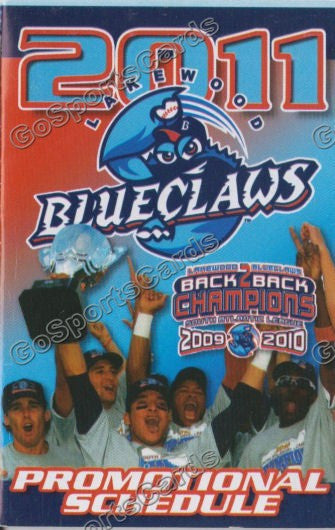 2011 Lakewood BlueClaws Pocket Schedule (Back to Back Champions)