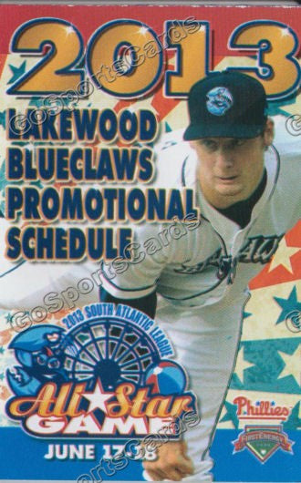 2013 Lakewood Blueclaws Pocket Schedule (SAL All Star Game)