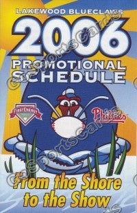 2006 Lakewood Blueclaws Pocket Schedule