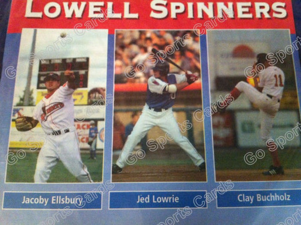 2005 Lowell Spinners Program SGA Draft Jacoby Ellsbury Clay Buchholz Jed Lowrie