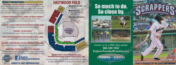 2012 Mahoning Valley Scrappers Pocket Schedule (Flat)(Francisco Lindor)