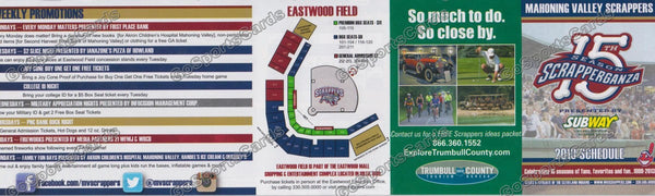 2013 Mahoning Valley Scrappers Pocket Schedule (15 Seasons, Flat)