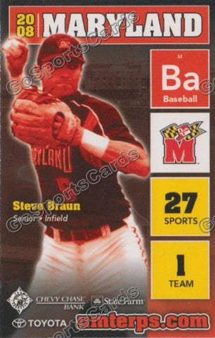 Steve Braun 2008 Maryland Terps Pocket Schedule