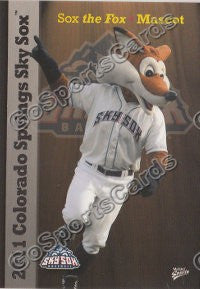 2011 Colorado Springs Sky Sox Sox The Fox Mascot