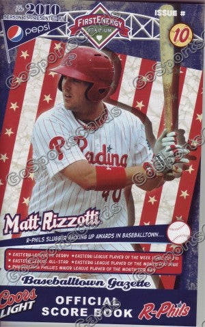 Matt Rizzotti 2010 Reading Phillies Gazette Program (SGA)