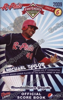Michael Taylor 2009 Reading Phillies Gazette Program (SGA)